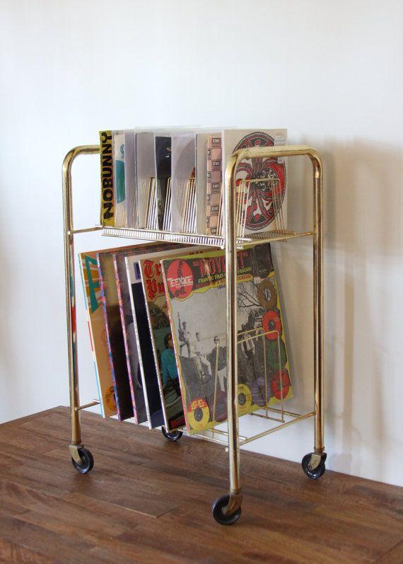 Vintage 1960s Industrial Metal Record Album Rolling Rack