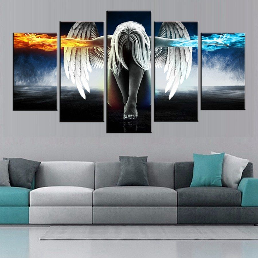 living room art prints%0A Room      Pieces Ice And Fire Angel And Devil Girl Modern Home Wall Decor  Canvas Picture Art