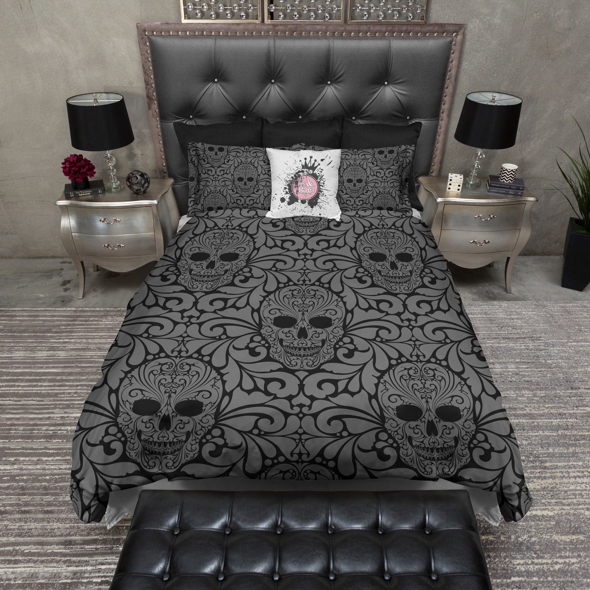 Goth Black And Grey Skull Bedding Duvet Bedding Sets Skull