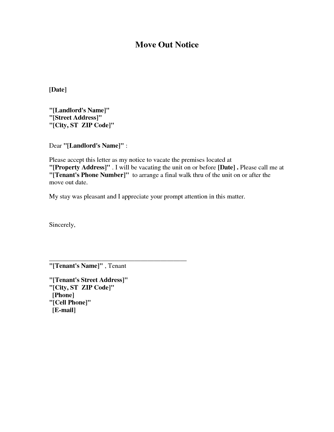 Notice letter to tenant to move out pdf format business document altavistaventures Images
