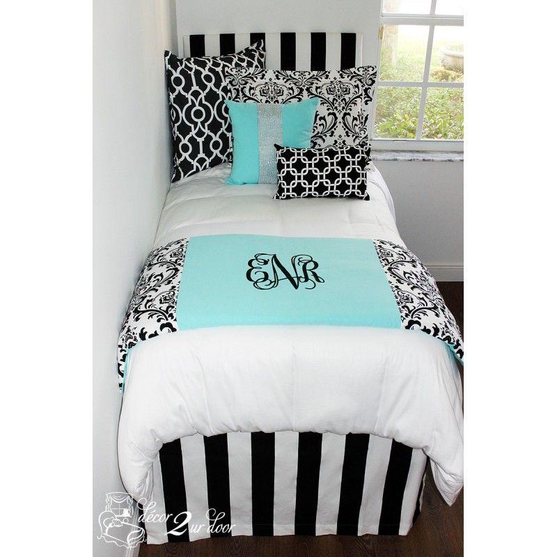 Tiffany Blue Designer Bed In A Bag Set Hallie Dorm