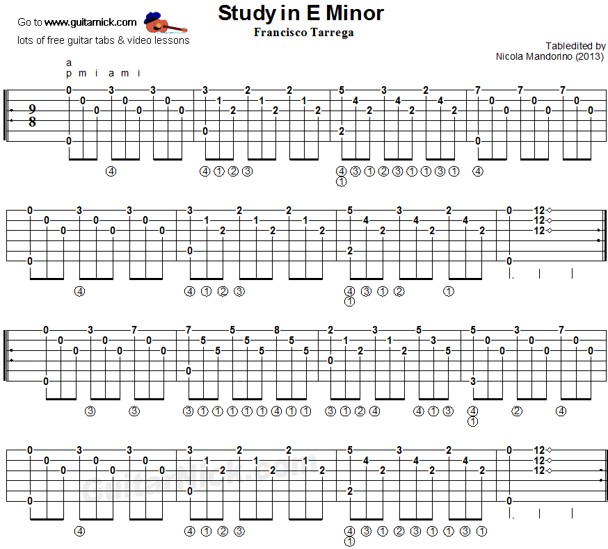 Guitar besame mucho guitar chords and lyrics : Study in E Minor (Tarrega) - guitar tablature | Guitar | Pinterest ...