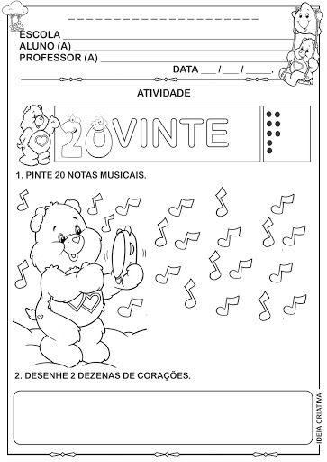 Atividade Ursinhos Carinhosos Numeral 20 Matematica Infantil