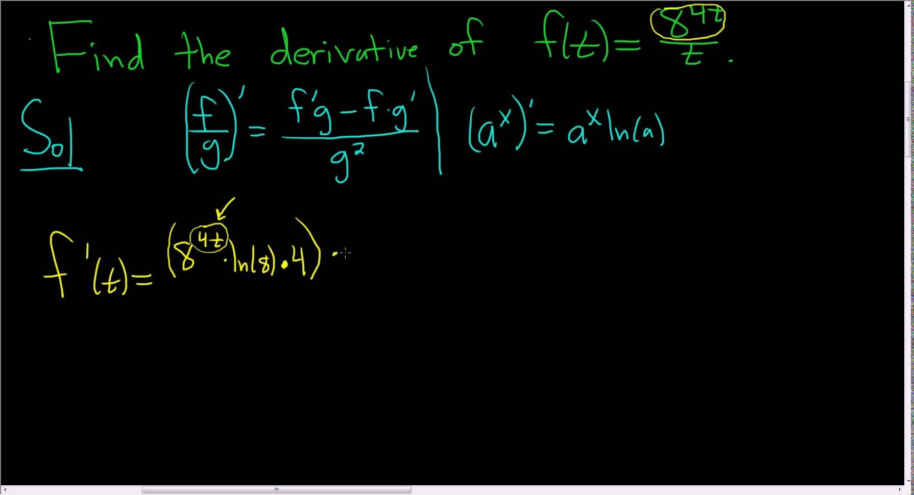 Derivative Of F T 8 4t T Using The Quotient And Chain Rule Chain Rule Calculus Youtube