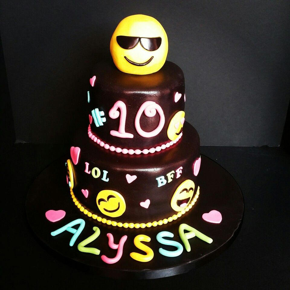 Emojis Black And Neon Th Birthday Cake Aurea Sweet - 10th birthday cake