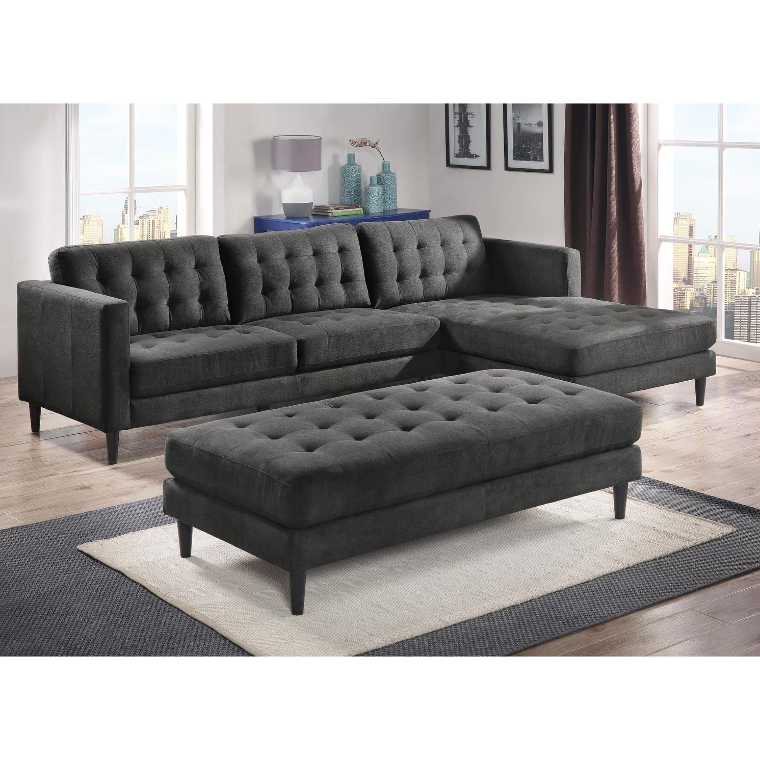 lyke home leila tufted sectional and ottoman set charcoal grey rh pinterest com