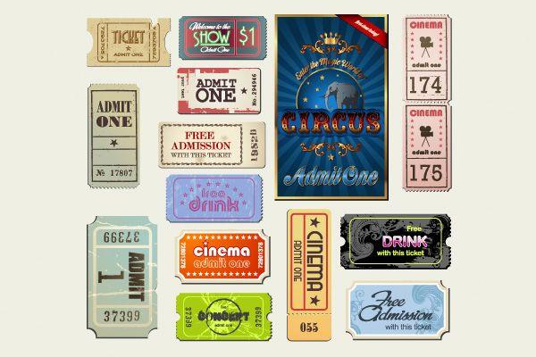 14 Vintage Cinema Tickets Vector Set - http://www.dawnbrushes.com/14-vintage-cinema-tickets-vector-set/