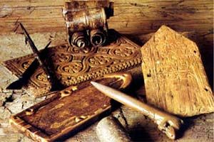Birch-bark letters, tseras (wax tablets marked with a writing instruments - sharp sticks) and writing instruments