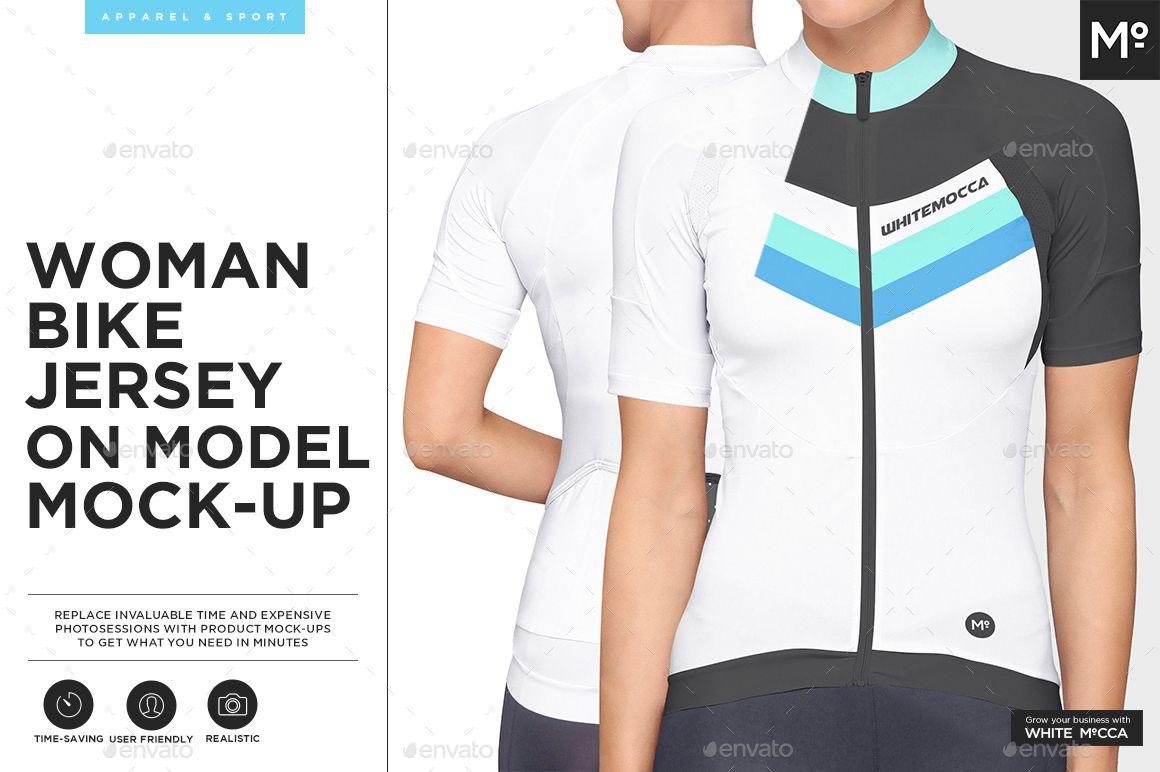 Download Women Bike Jersey On Model Mock Up Bike Jersey Womens Bike Shirt Mockup
