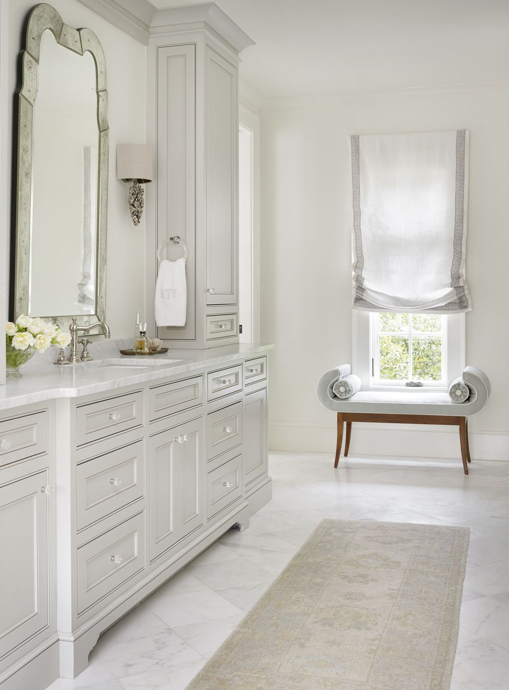 Pale Gray Bathroom Vanity Love The Soft Roman Shade and Little