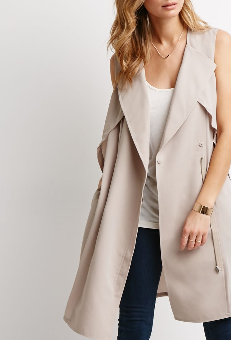 Dropped-Lapel Trench Vest | LOVE21 - 2000097194, $34.90