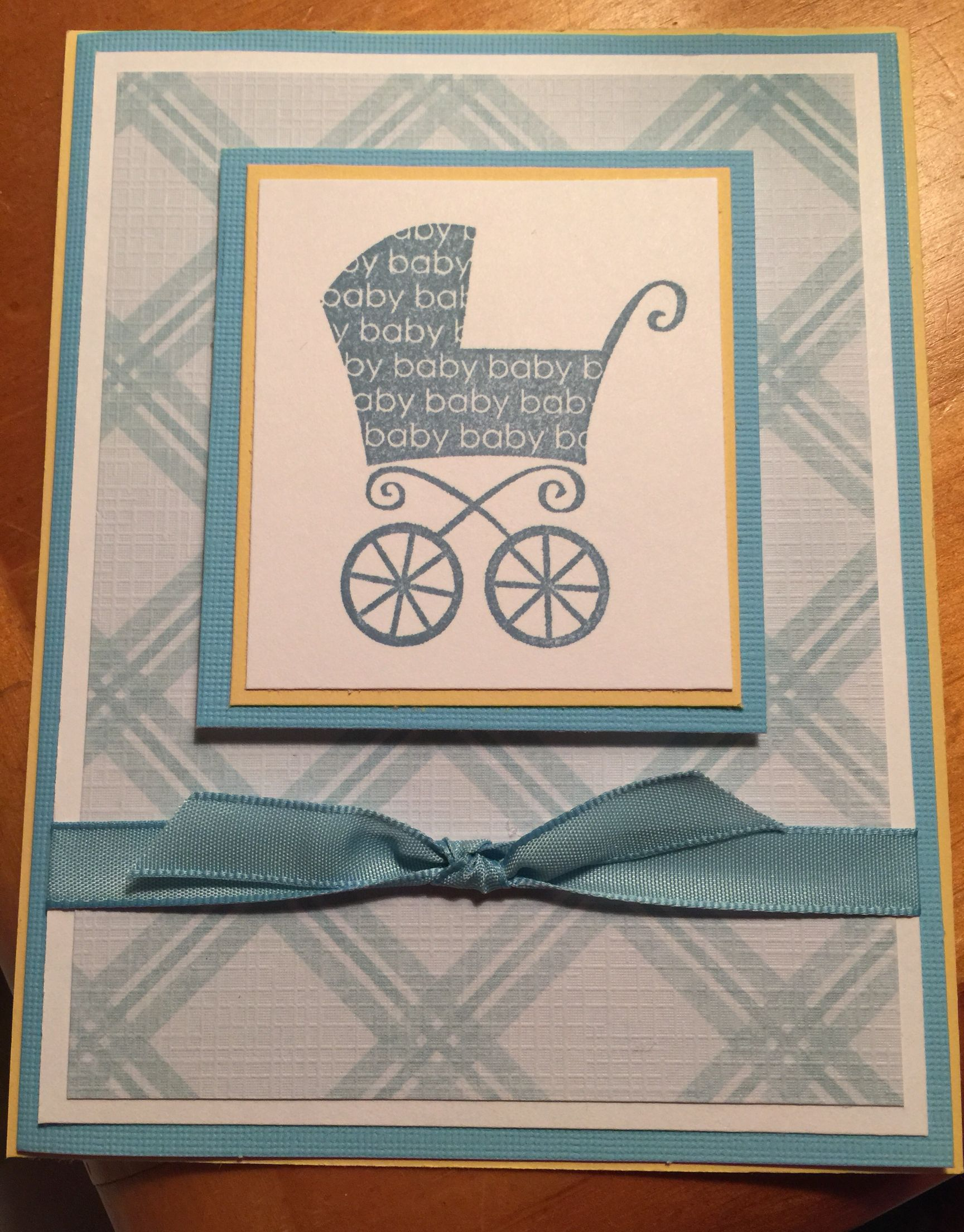 Baby boy card wStampinu0027 Up stamp and