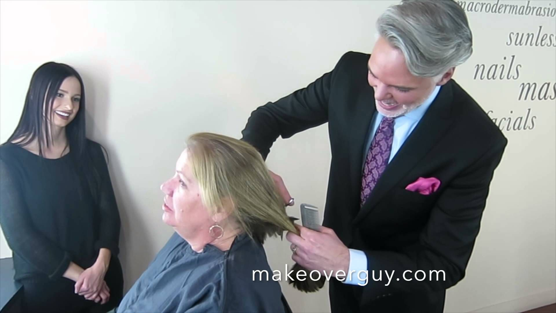 dramatic long hair cut short makeover by christopher makeover long and straight to short and curly by