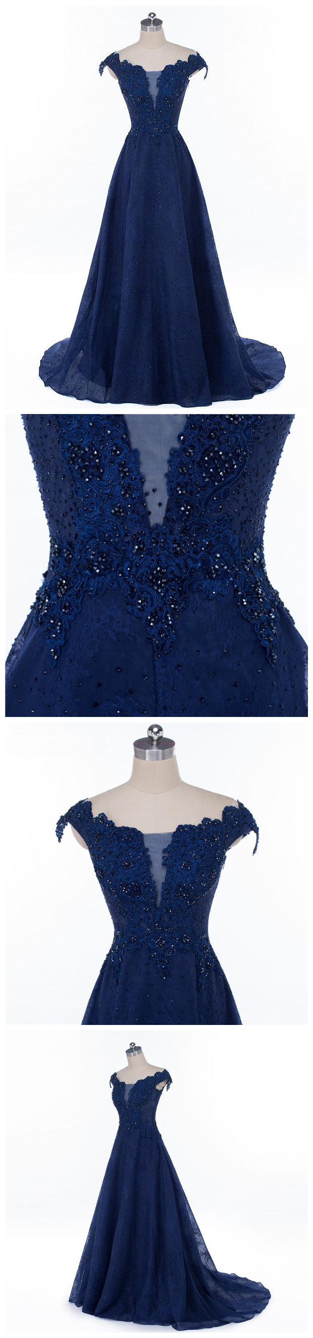 Chic dark navy prom dress aline applique off shoulder long prom