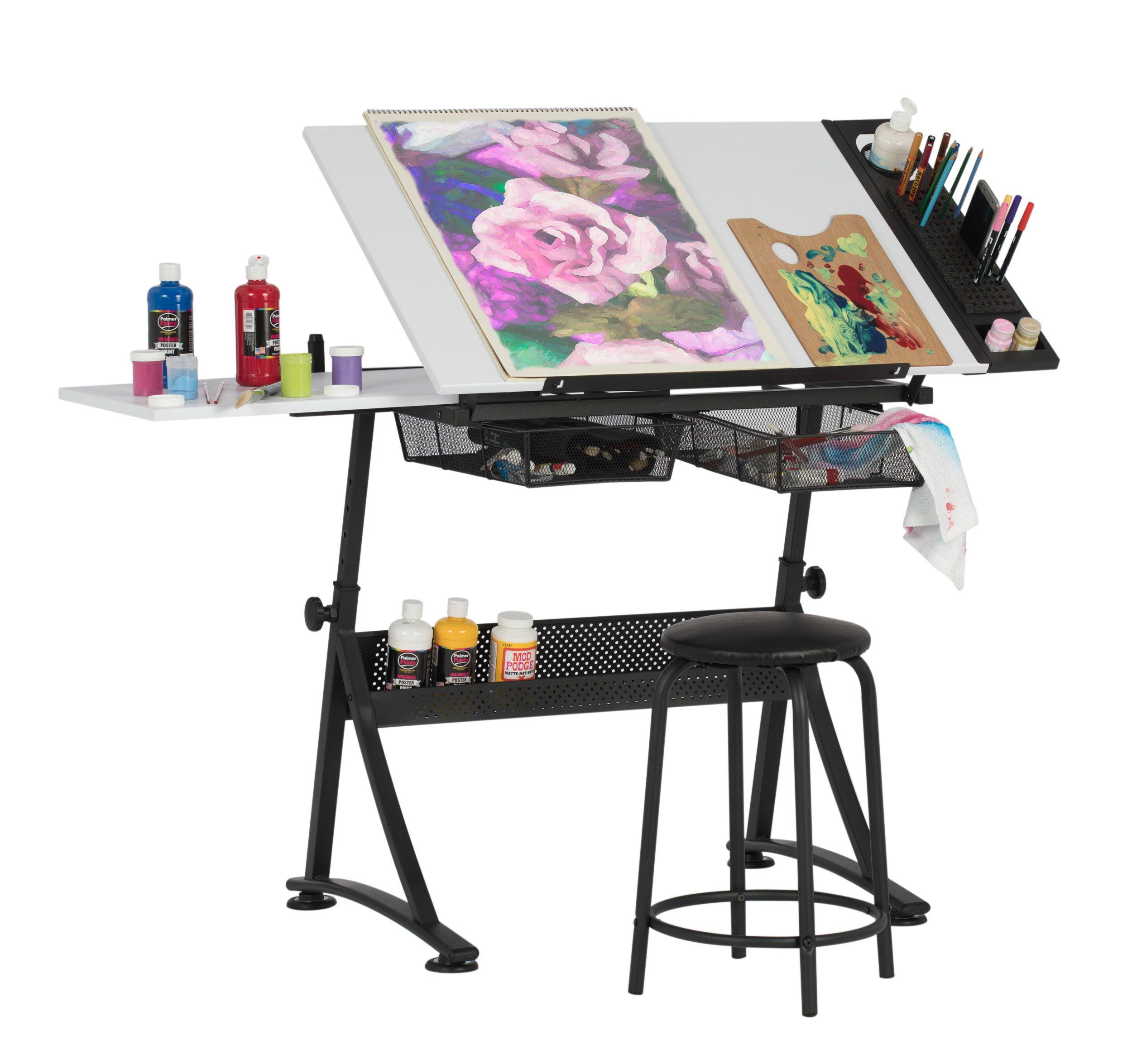 fusion craft center with stool and 24 art tray art guide craft rh pinterest com