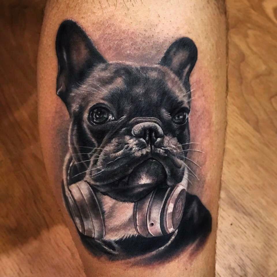 Tattoo doguinho realista feita pelo artista @camilotuero que atende no Studio @monstershousetattoo em Moema. Faça já seu orçamento: (11) 981304777 (11) 50937134 #tattoo #realismo #camilotuero #monstershouse