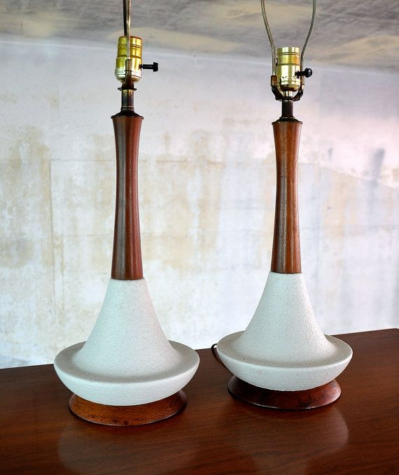 Pair Of Mid Century Danish Modern Scandinavian Ceramic Porcelain And Teak Wood Mid Century Modern Ceramics Table Lamp Wood Scandinavian Ceramic