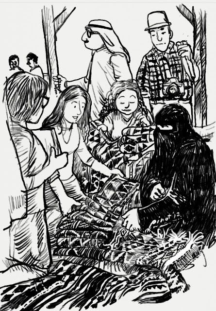 Woman sells Kuwait traditional hand-woven textile, Sadu, in Souk Jumah. Some European tourists bargaining the price. (done with Samsung Galaxy Note)