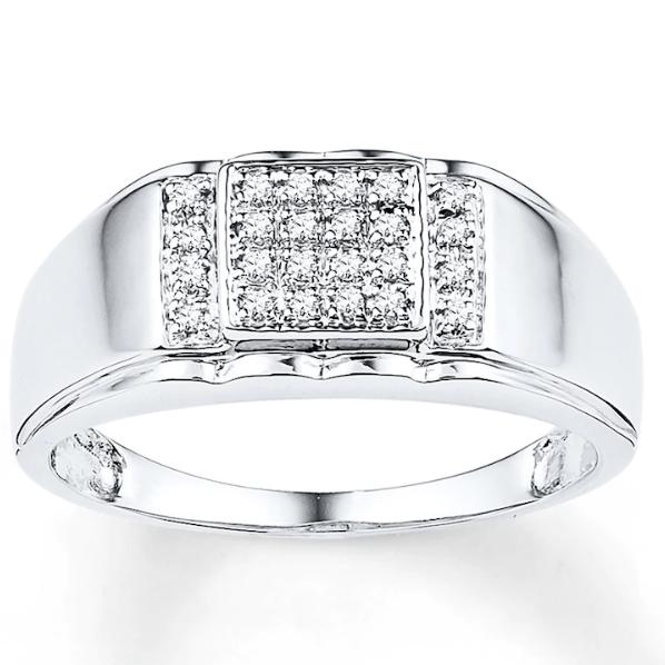 Men S Diamond Ring 1 8 Carat Tw 10k White Gold In 2020 Size 10 Rings Rings For Men Diamond Wedding Bands