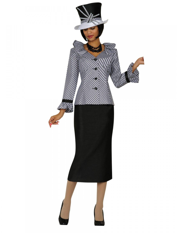 Gmi 4902 Black White Skirt Suit Divine Church Suits Gmi Church