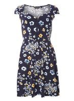 Womens Navy Floral Sweetheart Dress- Blue