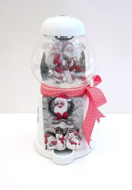 Altered Candy Dispenser Christmas Decoration by Dana Tatar for FabScraps - Christmas Snow Collection #TheyCallMeTatarSalad #FabScraps #ChristmasDecor #CandyDispenser #Santa