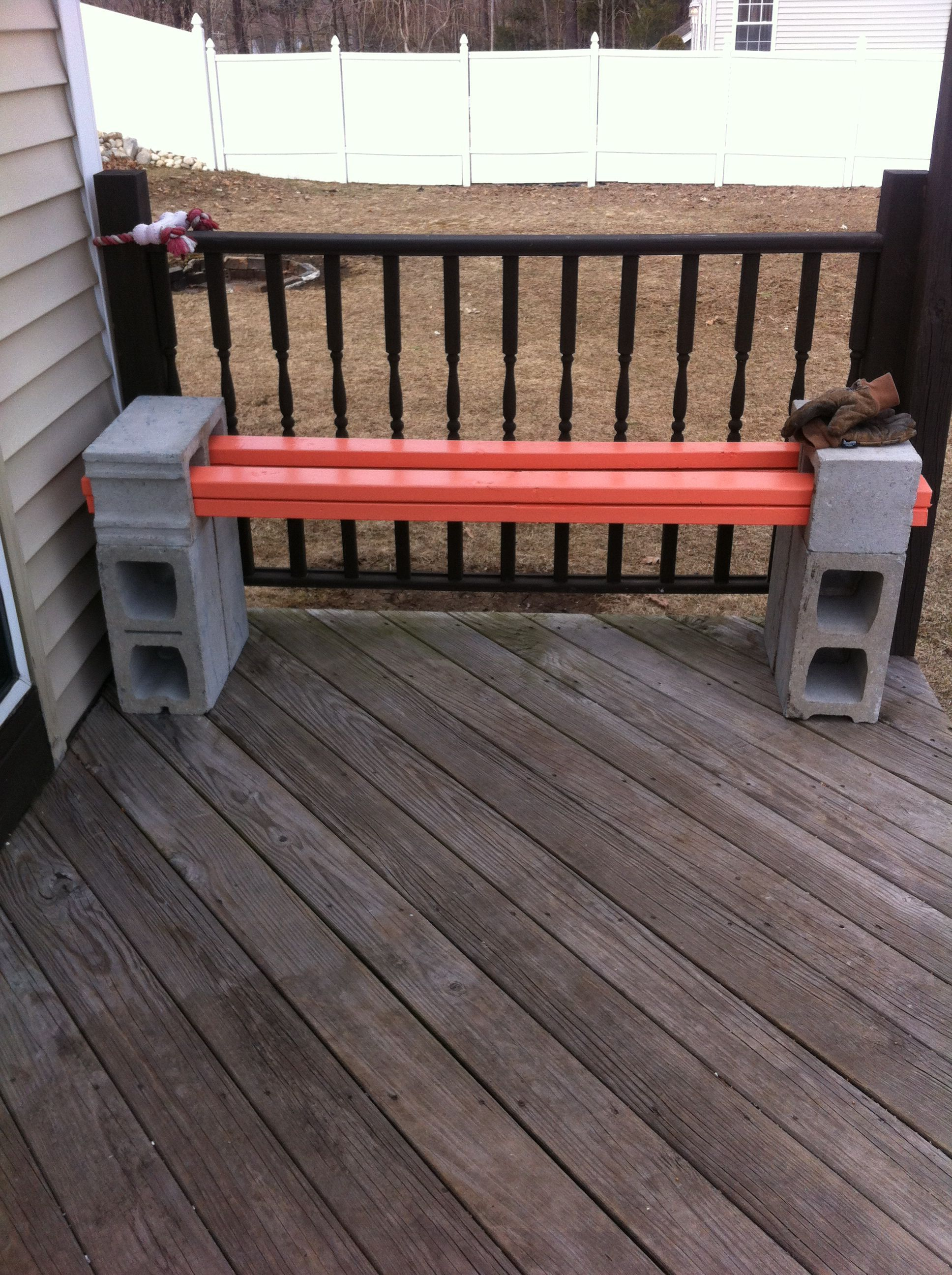 Cinder block bench Four 2x4u0027s placed in
