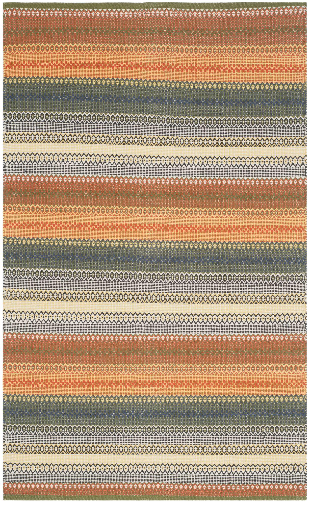 Chiginagak Handwoven Flatweave Gold Gray Area Rug Striped Rug Striped Kilim Kilim Area Rug