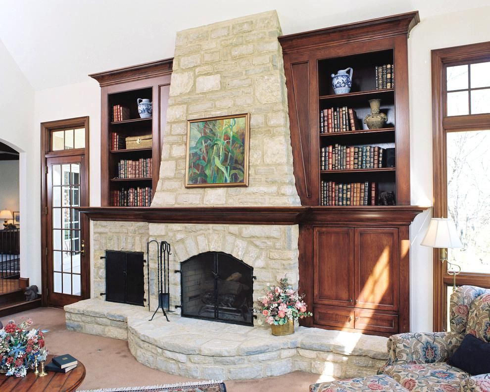 fireplace with bookshelves design decor stone covered fireplace rh pinterest es