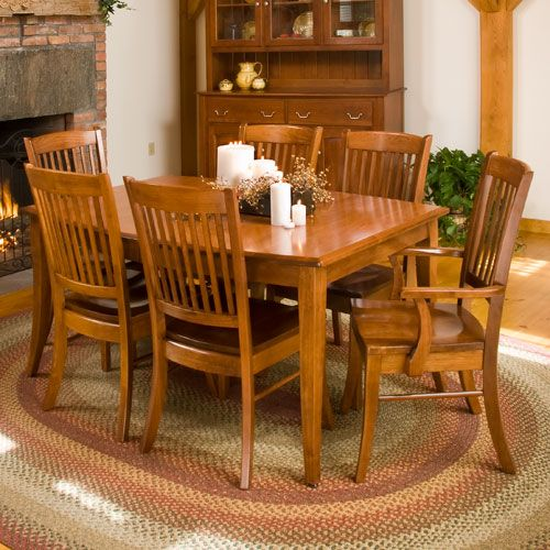 X Manchester Table Set With SelfStoring Leaves In Oak - 36 x 48 dining table with leaf