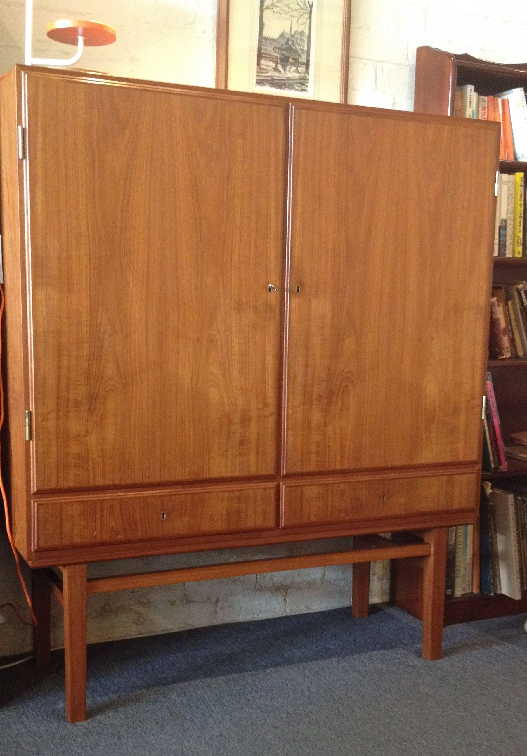 danish teak upright multi purpose 2 door cabinet use as a buffet rh pinterest com