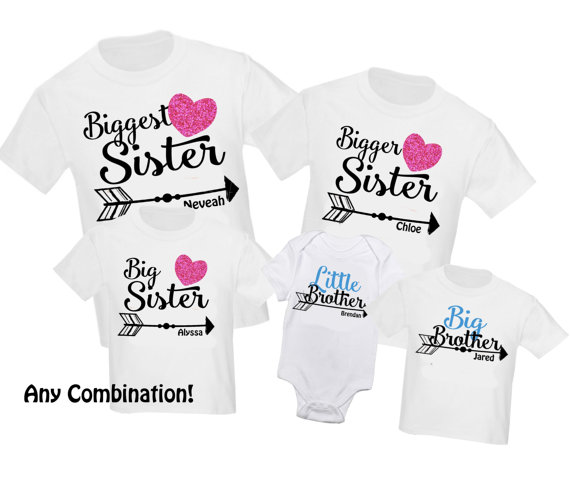 6834b5e1d 5 pc Siblings Shirt Set Biggest Sister Big Sister Personalized T-Shirt  Little Brother Shirts