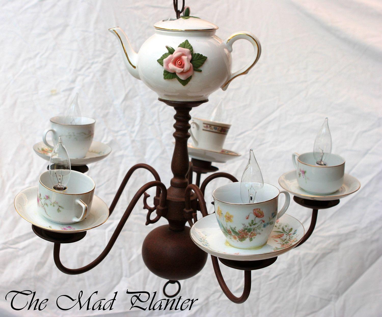 Handmade teacup chandelier with vintage teacups on sale 38925 items similar to handmade teacup chandelier with vintage teacups on sale on etsy arubaitofo Choice Image