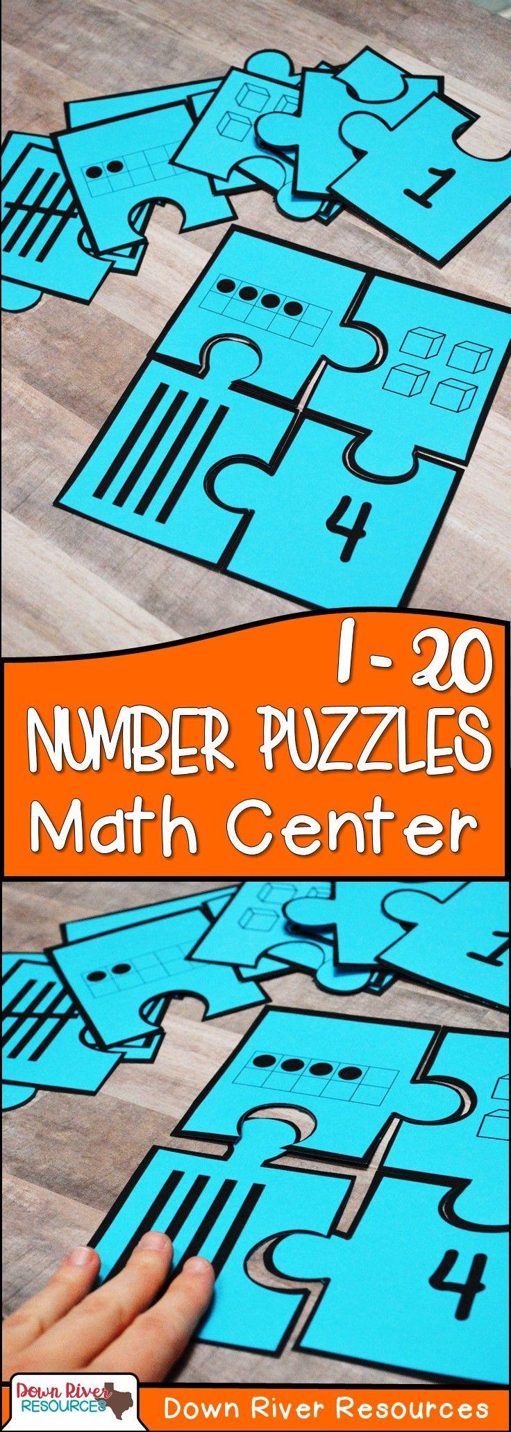 Kindergarten NEW Math TEKS K.2BD: Number Puzzles (Numbers 1-20 ...