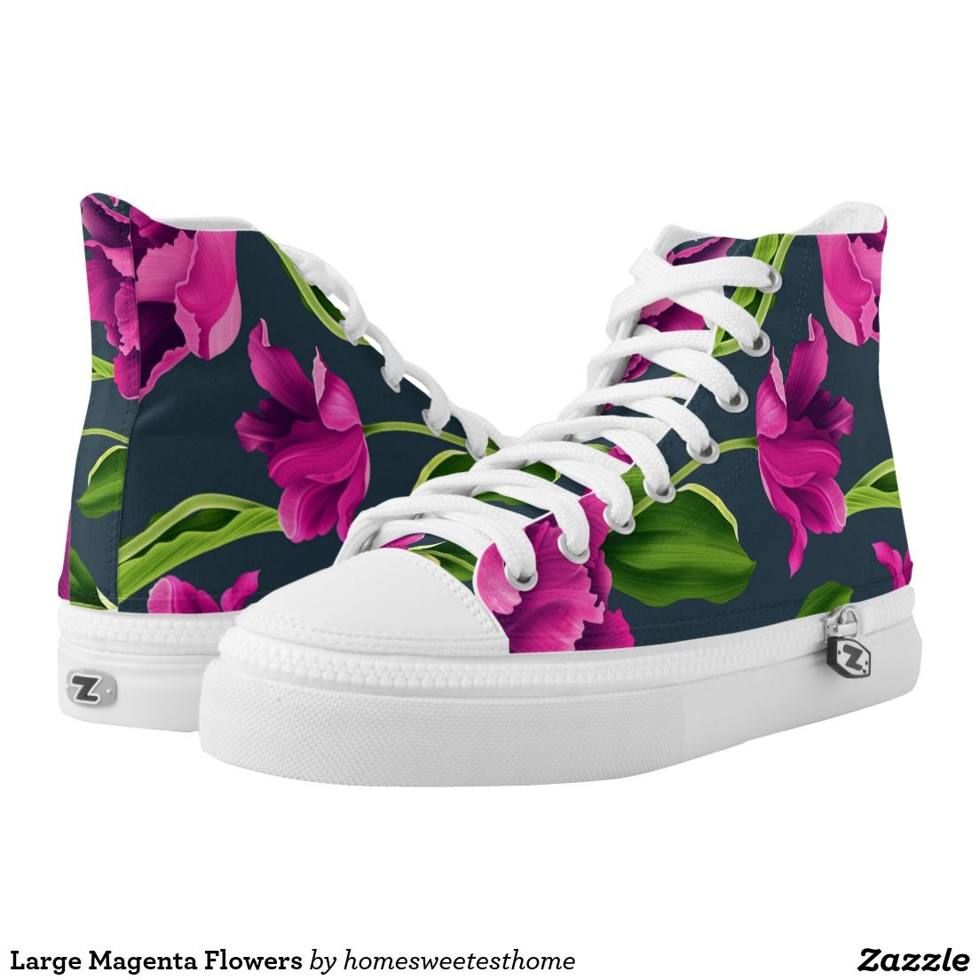 Large Magenta Flowers Printed High Tops ZIPZ® shoes