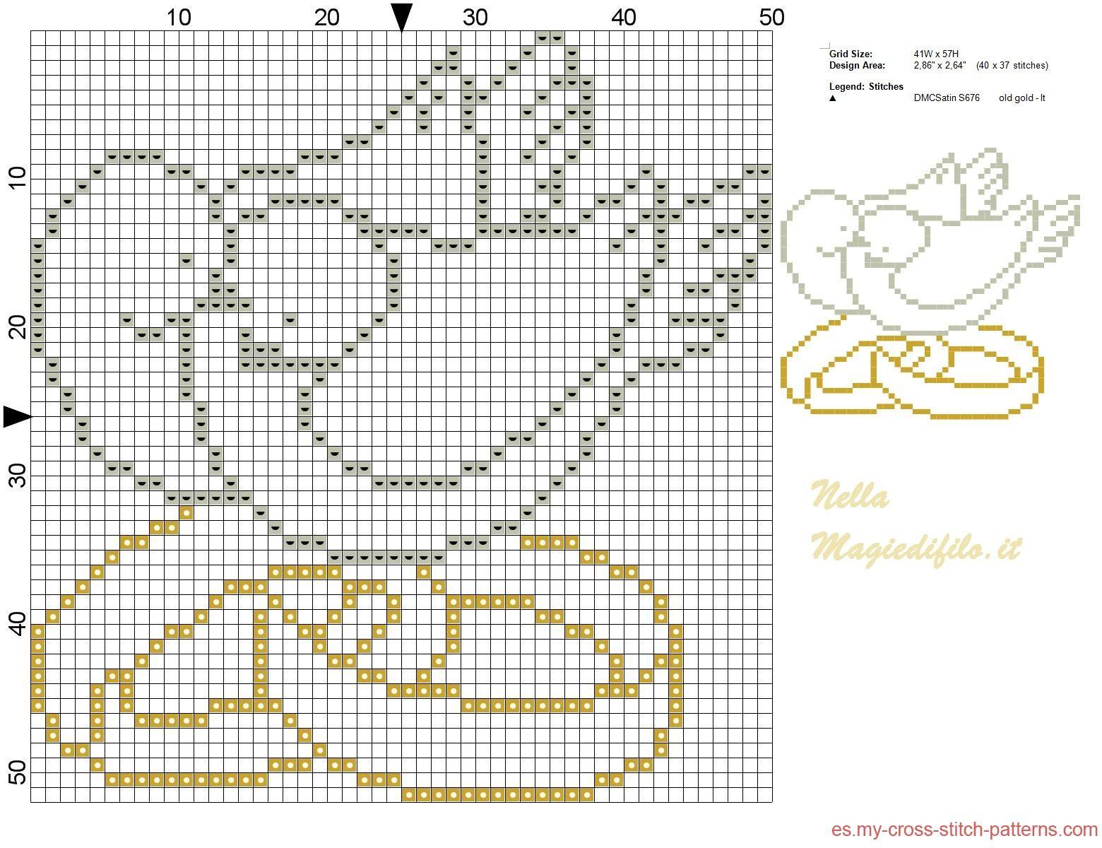 Palomas con los anillos | ima | Pinterest | Stickmuster, Kreuzstich ...