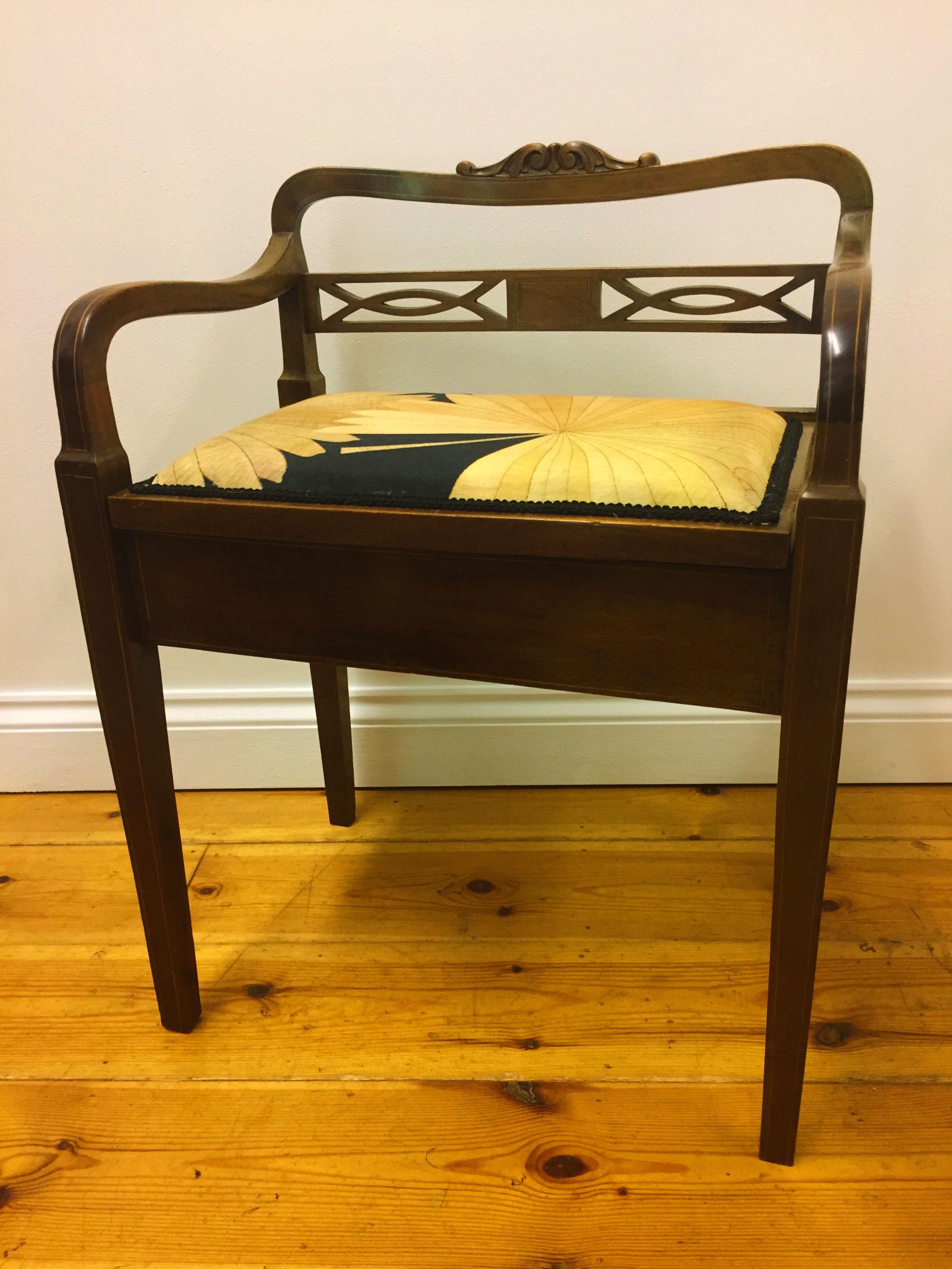Unusual Edwardian Piano Stool With Back Rail Newly Upholstered