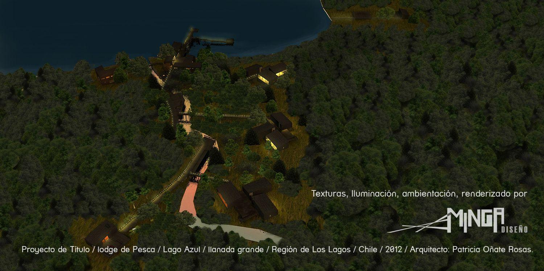 Vista Aérea nocturna del Lodge