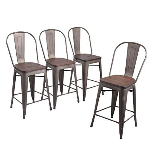 Cool Andeworld Set Of 4 Tolix Style Counter Height Bar Chairs Creativecarmelina Interior Chair Design Creativecarmelinacom