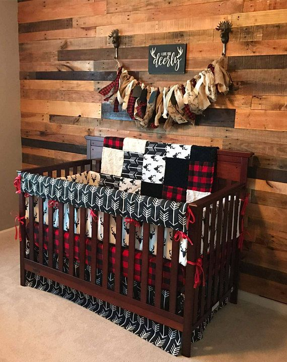 2 Day Ship Boy Crib Bedding Buck Deer Black Arrows