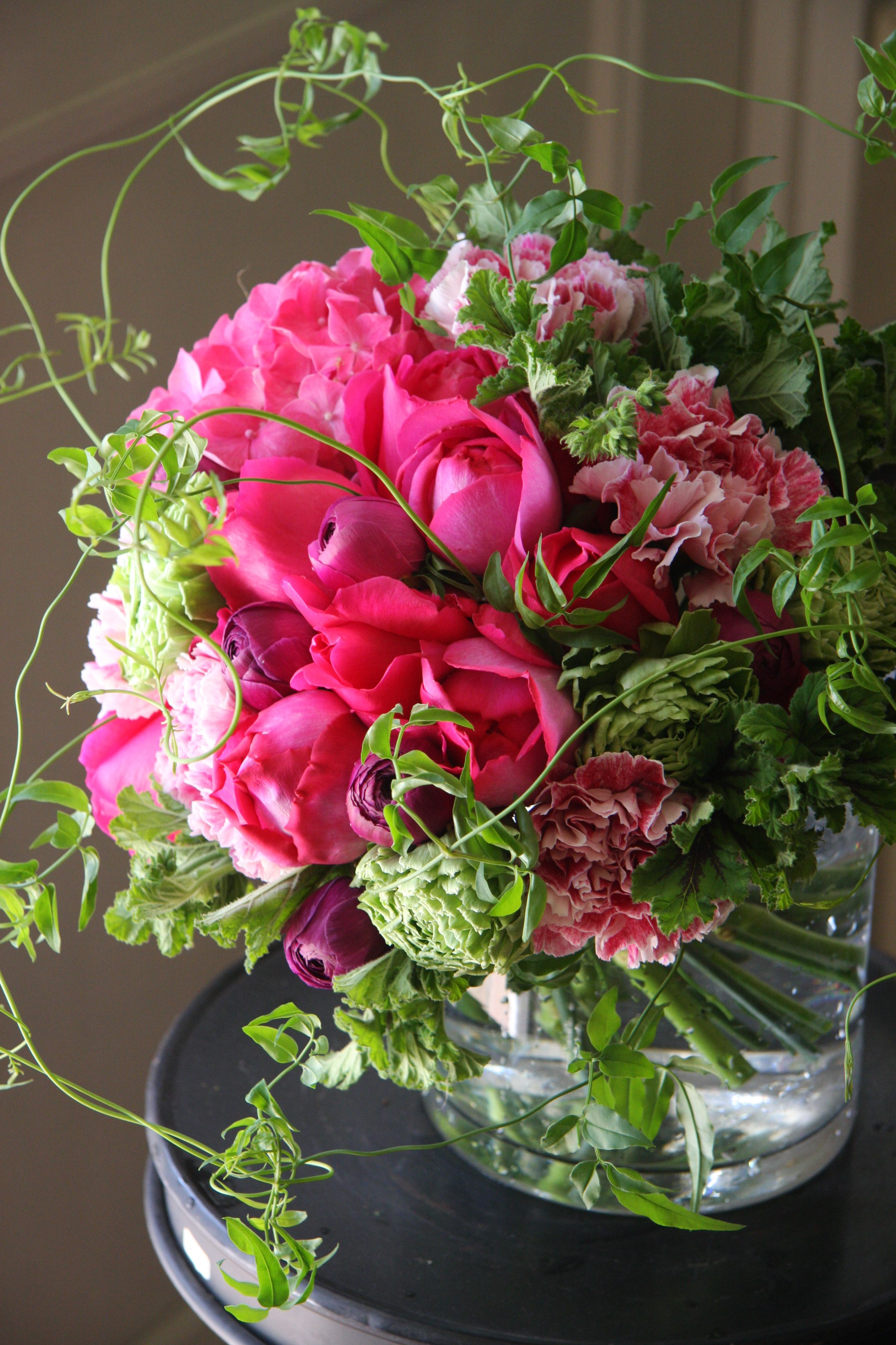 rose,ranunculus,hydrangea and carnation. Designed by