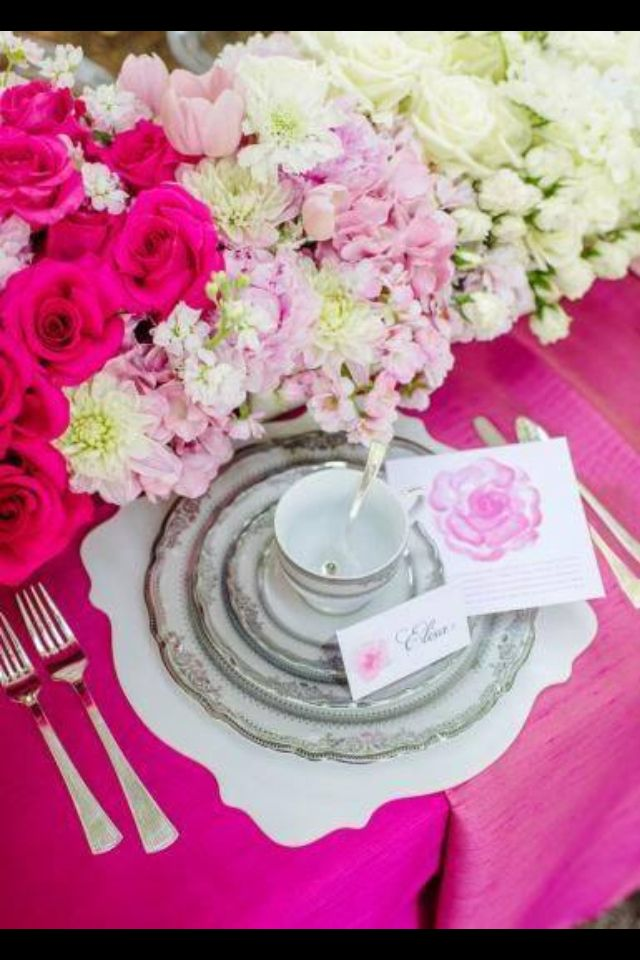 Beautiful shower table setting Tea party Bridal