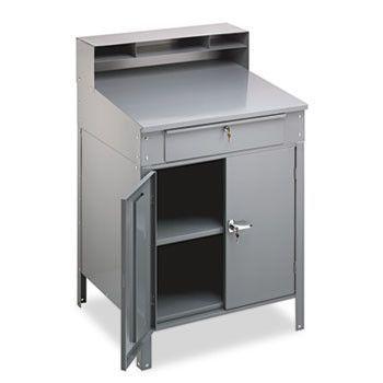 Steel Cabinet Shop Desk, 36w X 30d X 53-3/4h, Medium Gray