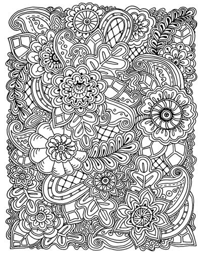 Flowers And Swirls Vi Coloring Canvas Coloring Canvas Coloring Books Doodle Background