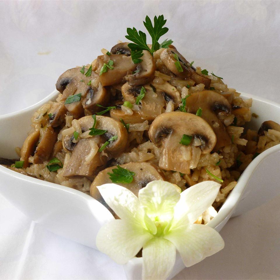 """Rice With Mushrooms, Garlic, Onion"