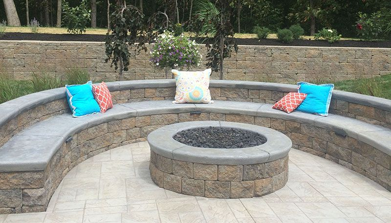 Round Fire Pit Fake Fire Pit Paver Patio Curved Bench Seating Decorative Pillows Back Yards Fire Pits Fireplaces Patio Ponds Acc Fire Pit Decor Diy Fire Pit Outside Fire Pits