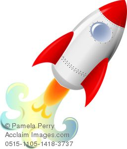 Rocket Ship Clip Art Free  Clip Art Image of a Rocket Taking Off