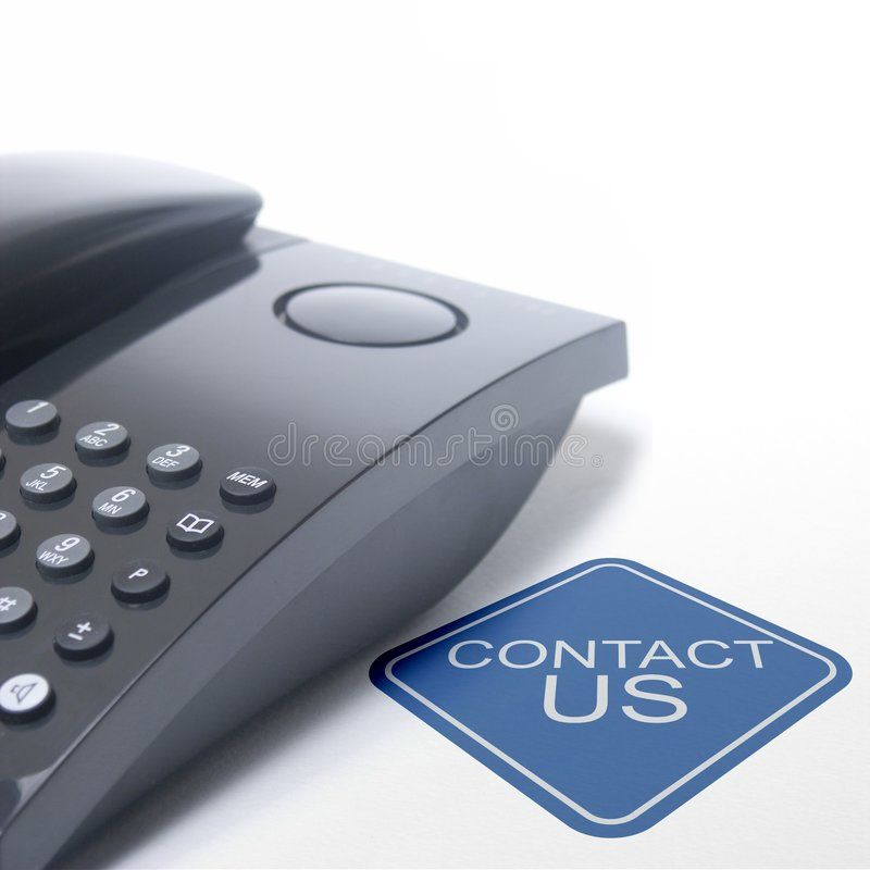 Contact us black telephone isolated on a white background