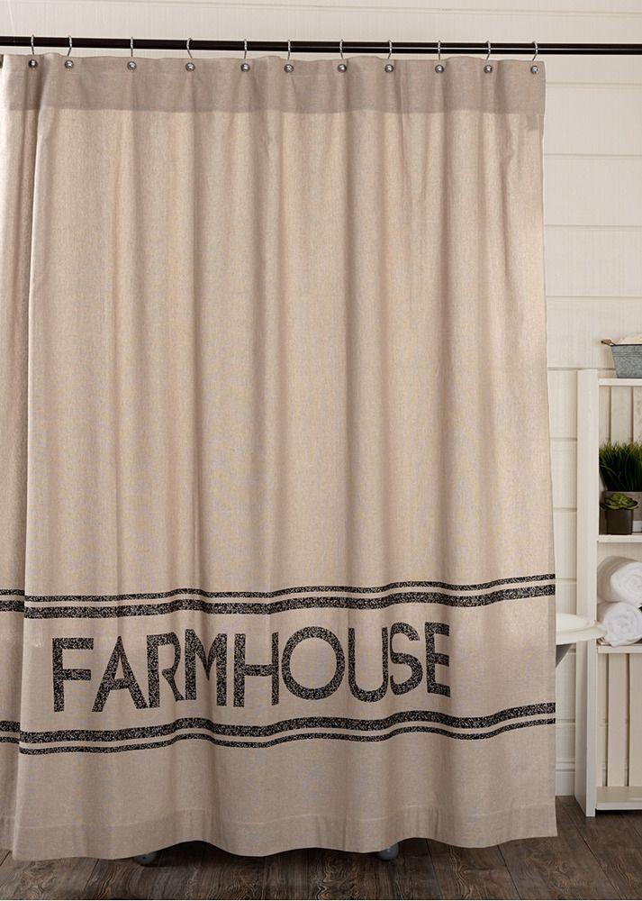 Sawyer Mill Farmhouse Shower Curtain Cotton Rustic Grain Feed Sack Vhc Primitive Vhc Farm Farmhouse Shower Curtain Farmhouse Shower Primitive Shower Curtains