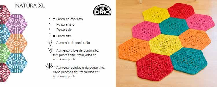 Patrón alfombra hexágonos con Natura XL / Foto: DMC | Alfombras ...